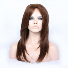 Customized Lace Front Wigs Brazilian Virgin Human Hair Natural Straight #4 Color [LFW080]