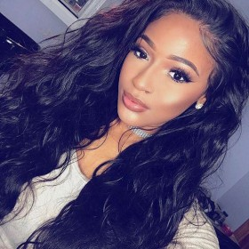WowEbony Pre-plucked Hairline Natural Wave 360 Lace Wigs, 180% density, Indian Remy Hair [NW3601]