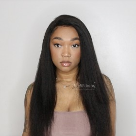 WowEbony Pre-plucked hairline Kinky Straight 360 Lace Wigs, 4.5 Inches Deep part, 150% density Indian Remy Hair[360KS01]
