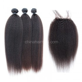Malaysian virgin unprocessed natural color human hair wefts and 4*4 Lace Closure Kinky Straight 3+1 pieces a lot Hair Bundles 95g/pc [MVKS3+1]