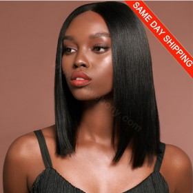 Same Day Shipping: WowEbony Indian Remy Hair Blunt Bob Cut Lace Wigs [360YSBC02]