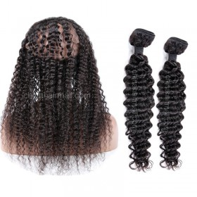 Brazilian Virgin Human Hair 4.5inches Deep part Pre-plucked 360 Lace Frontal + 2 Bundles Deep Wave Bundle Weight 100g/PC[BVDW360LF2+1]
