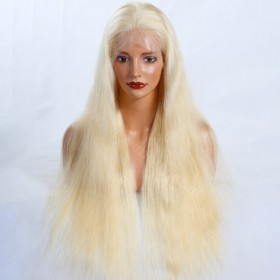 Same Day Shipping WowEbony Peruvian Virgin Hair Natural Straight Blonde #613 Color Full Lace Wigs [GBLFW03]