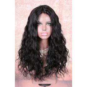 WowEbony Lace Part Affordable Wigs Indian Remy Hair Natural Wave 18 Inches, Color #1B, 150% Hair Density [LPLW13]{preparing for 15 working days}