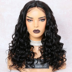 WowEbony 250% Density Deep Wave Glueless Lace Part Lace Wig Indian Remy Hair [LPLW16]