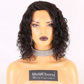 Stocked WowEbony Human Hair 10 inches #1B Color 130% Density Curly  Bob M Size Curve Part Glueless Lace Wigs [Curve04]