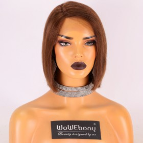 Stocked WowEbony Human Hair 8 inches #4/30 Color 150% Density Yaki Straight Blunt Cut Bob M Size Curve Part Glueless Lace Wigs [Curve03]