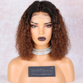 WowEbony Pre-Plucked Shoulder Length Brown Ombre Natural Wave Bob Lace Front Wigs Middle Part Indian Remy Hair Pre-Bleached Knots  [NEW14]