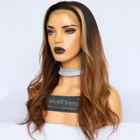 WoWEbony Virgin Human Hair Patch Highlight  Ombre Brown/Camel Color Hair Wavy Lace Front Wig [Sean]