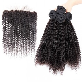 Brazilian virgin unprocessed human hair wefts and 13*4 Lace Frontal Kinky Curly 4+1 pieces a lot Hair Bundles 95g/pc [BVKCLF4+1]