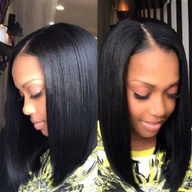 WowEbony Lace Front Wigs Indian Remy Hair Straight Bob Wig Side Part [BOBL03]