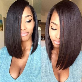 WowEbony Lace Front Wigs Indian Remy Hair Straight Asymmetrical Bob wig #2 Color [BOBL04]