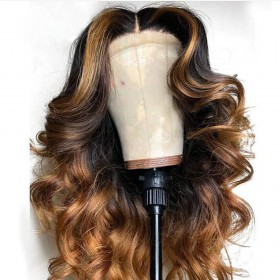 WowEbony Celebrity Style Highlight and Ombre Color Indian Remy Hair New Picture Wave Lace Front Wigs [Rossie]