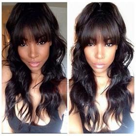 WowEbony Indian Remy Hair Full Bangs Wavy Glueless Silk Top Closure Wig [Bangs02]
