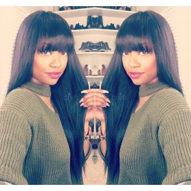 WowEbony  Full Bangs Glueless Lace Front Wigs Brazilian Virgin Human Hair Yaki Straight Wig With Bangs [LFW093]