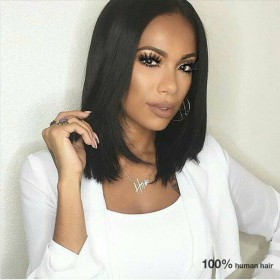 WowEbony Glueless Lace Front Wigs Peruvian Virgin Hair Short Bob Cut Wigs [BOBL09]
