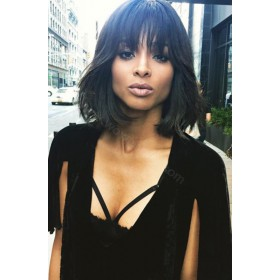 WowEbony Ciara Style Wave Bob wig with Bangs Glueless Lace Front Wigs Indian Remy Hair [BOBL20]