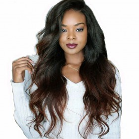 In Stock Glueless Lace Front Wigs Indian Remy Hair Ombre Chocolate Brown 18inches [OMBREL021]