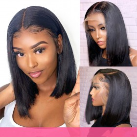 WowEbony Natural Color 150% Density Indian Remy Hair Straight Bob Lace Front Wigs [DLFWBOB01]