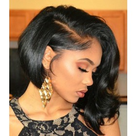 WowEbony Natural Color 150% Density Indian Remy Hair Special Curl Lace Front Wigs [DLFWBOB06]