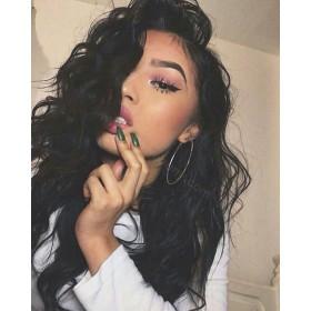 WowEbony Glueless Full Lace Wigs Peruvian Virgin Hair Wavy [FLW25]