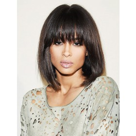 WowEbony Glueless Full Bangs Bob Lace Front Wigs Indian Remy Hair Light Yaki Straight [BOBL19]