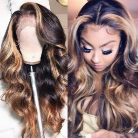 WoWEbony Indian Remy Highlight Color Wave Lace Frontal Wigs [Britnnay]