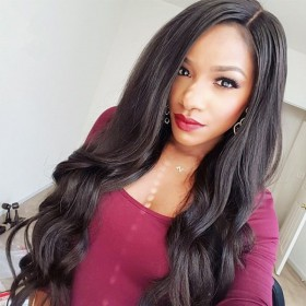 WowEbony Glueless Full Lace Wigs Indian Remy Hair Side Part Loose Wave [FLW13]