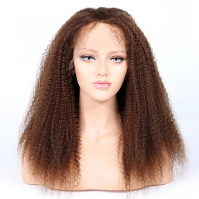 Glueless Lace Front Wigs Indian Remy Hair Kinky Curl #4 Color [KCLFW1]