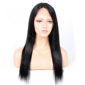 WowEbony Yaki Straight Glueless Silk Part Lace Wig Indian Remy Hair [SPLW02]