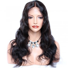 WowEbony Body Wave Glueless Silk Part Lace Wig Indian Remy Hair [SPLW01]