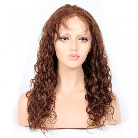 WowEbony #4/30 Highlight Color Glueless Full Lace Wigs Indian Virgin Hair 25mm Curl [GHLFW08]