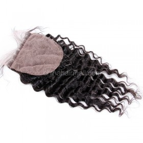 Brazilian Virgin Human Hair 4*4 Popular Silk Base Lace Closure Deep Wave Natural Hair Line and Baby Hair [BVDWSTC]