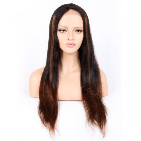 WowEobny Glueless Lace Front Wigs Peruvian Virgin Hair Ombre Natural Color to 27A Yaki Straight Wigs [OMBREL10]