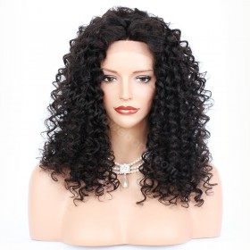 WowEbony Messy Curly Lace Front Wigs Indian Remy Hair,4.5inch Deep Part Space [IR4.5DPLFWMC]
