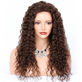 WowEbony Deep Curly Lace Front Wigs Indian Remy Hair,  #4 Color [LFW090]