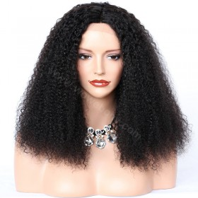 WowEbony Afro Curl Glueless Silk T Part Lace Wig 18inch 150% Density #1B Color Indian Remy Hair [SLPLW08]
