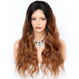 In Stock Glueless Lace Front Wigs Indian Remy Hair Ombre #1B/16 20inches [OMBREL019]