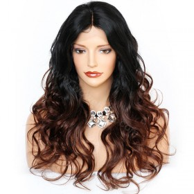 WowEbony Body Wave Glueless Lace Front Wigs Indian Remy Hair Ombre #1B/30 20inches [OMBREL020] (+40 working days)