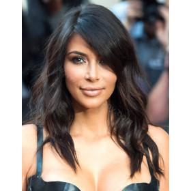 Kim Kardashian Inspired Glueless Lace Front Wigs Indian Remy Hair Middle Length Bob Cut Wigs [BOBL18]