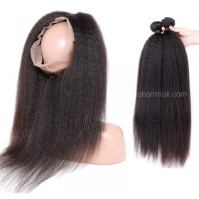 Brazilian Virgin Human Hair 4.5inches Deep part Pre-plucked 360 Lace Frontal + 2 Bundles Kinky Straight Bundle Weight 100g/PC[BVKS360LF2+1]