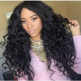 WowEbony 4*4 Silk Top Glueless Full Lace Wigs Indian Human Hair Wavy [SBGFLW2]