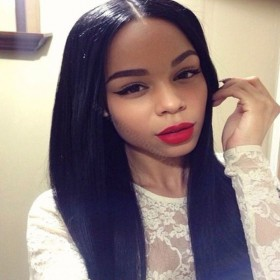 Lace Front Wigs Indian Remy Hair Yaki Straight Baby Hair [LFW031]