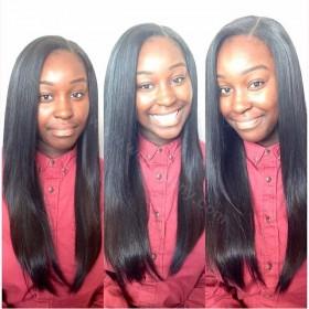 WowEbony Lace Front Wigs Peruvian Virgin Human Hair Light Yaki Straight [LFW038]
