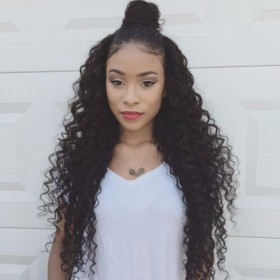 4.5inch Deep Part Lace Front Wigs Indian Remy Hair Deep Curly [IR4.5DPLFWDC]