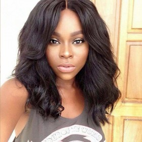 WowEbony Body Wave Glueless Lace Front Wigs Indian Remy Hair, Short Bob Wig [BOBL22]