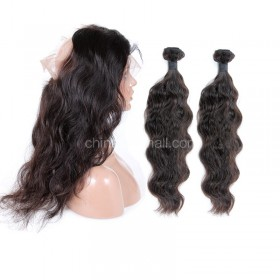 Brazilian Virgin Human Hair 4.5inches Deep part Pre-plucked 360 Lace Frontal + 2 Bundles Natural Wave Bundle Weight 95g/PC[BVW360LF2+1]