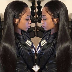 WowEbony Pre-plucked Hairline Lace Front Wigs Indian Remy Hair Yaki Straight [LFW096]
