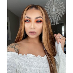 WoWEbony Invisible HD Transparent Single Knots Indian Remy  or Virgin Hair Highlight Color Straight Lace Front Wigs [Pretty]