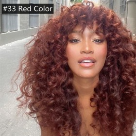 WoWEbony Indian Remy Hair Full Bangs 3A Curly Hair Black, Red or Burgundy Color Glueless Silk Top Closure Wig [Bangs04]